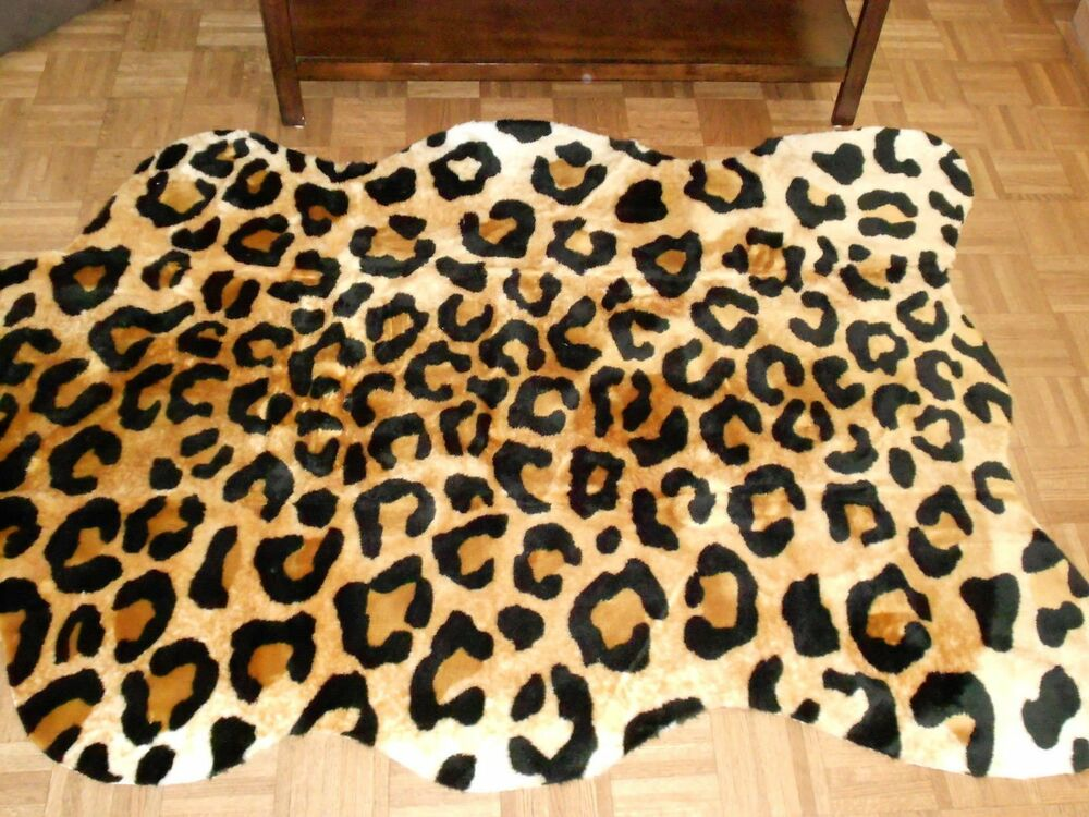 Leopard Rug Faux Fur Animal Skin Pelt Hide 5x7 New Ebay