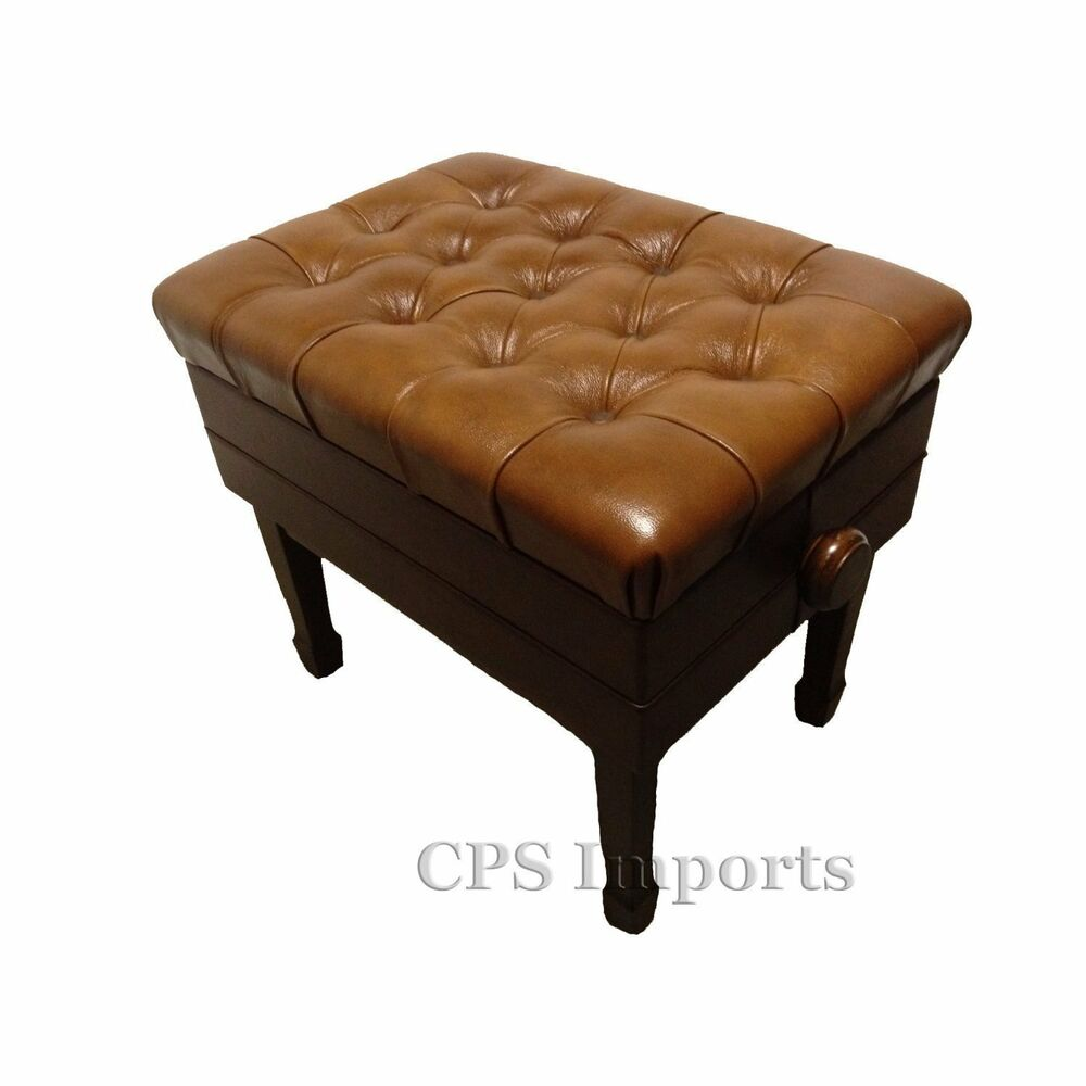 Genuine Leather Walnut Adjustable Piano Bench Stool Chair