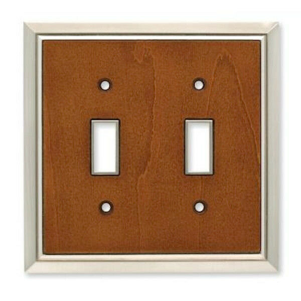 126456 satin nickel caramel architectdouble switch cover. Black Bedroom Furniture Sets. Home Design Ideas