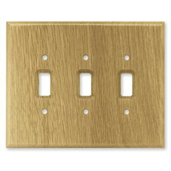Medium oak wood triple switch outlet cover wall