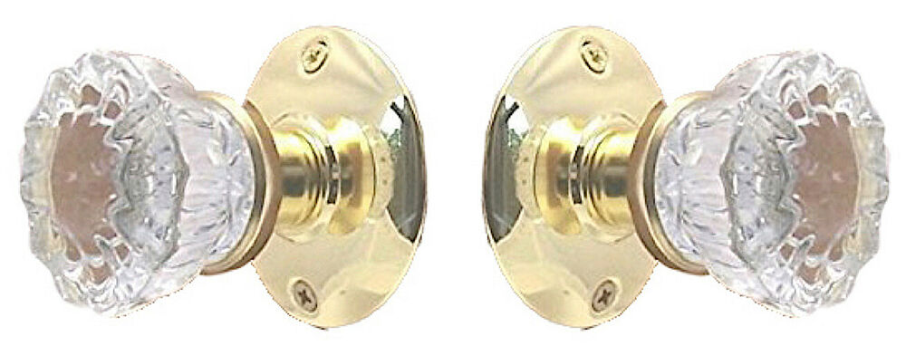 Fluted Crystal Glass Passage Door Knob Set Fit Any Door Ebay