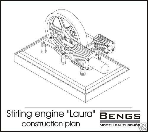Stirling engine laura construction plans ebay for Stirling engine plans design blueprints