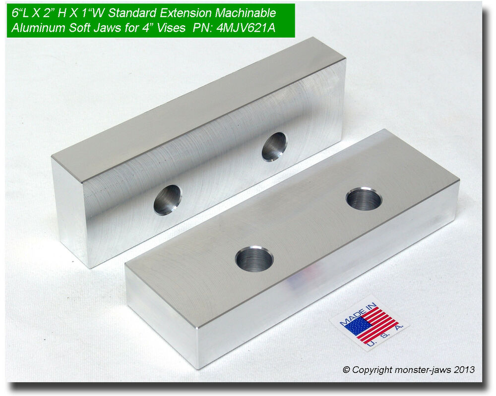 6 X 2 X 1 Quot Oversized Extension Aluminum Soft Jaws For 4