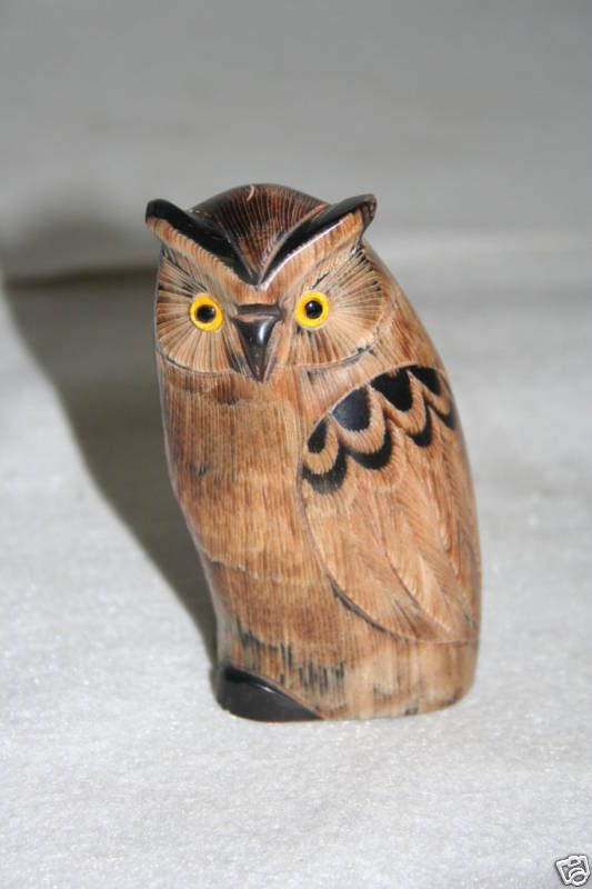 Hand carved buffalo horn small owl sculpture various ebay