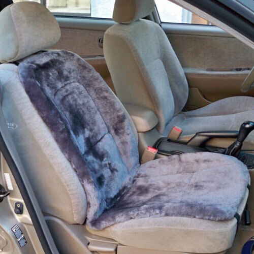 sheepskin seat cushion covers car truck suv std seats dk grey universal fit ebay. Black Bedroom Furniture Sets. Home Design Ideas