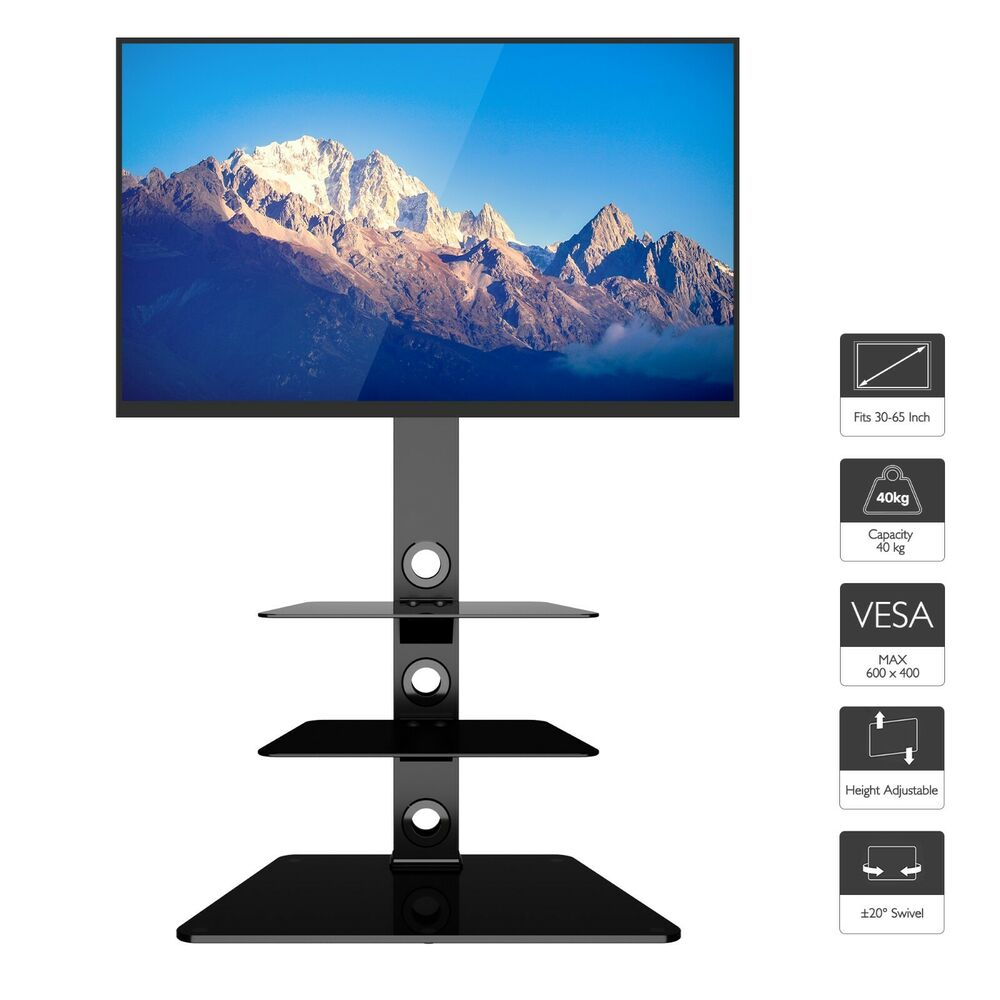 glass tv stand with bracket black for 27 55 inch lcd led 3d vesa up to 600x400 ebay. Black Bedroom Furniture Sets. Home Design Ideas