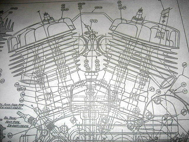 Harley Davidson 45 Flathead Engine Blueprint Wla Wl Hd Vtg Parts Motorcycle