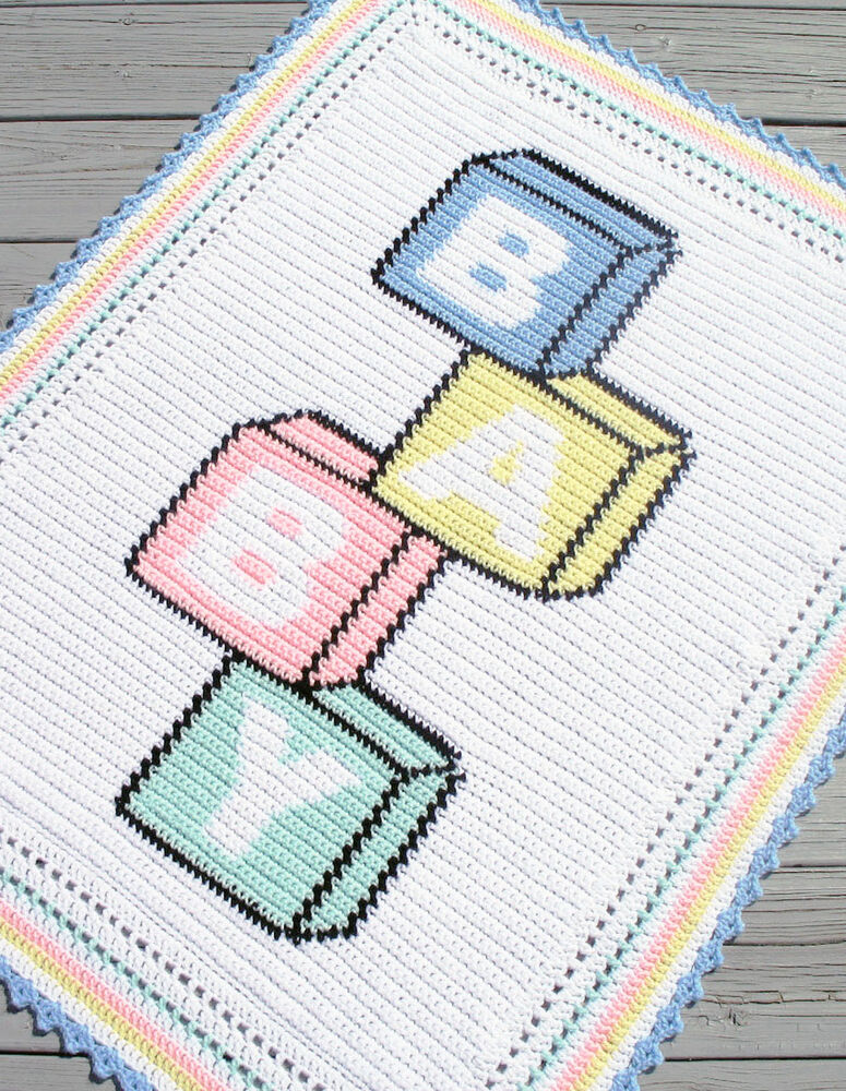 Crochet Patterns Graphs Free : Crochet Patterns-BABY BLOCKS Color Graph Afghan Pattern eBay
