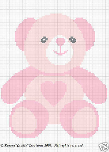 TEDDY GIRL BEAR Color Graph Baby Afghan Pattern *EASY eBay