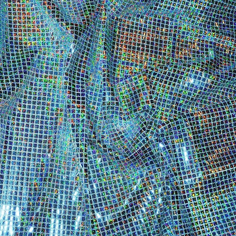 """SEQUIN KNIT HOLOGRAM FABRIC SILVER 44"""" BY THE YARD COSTUME ..."""