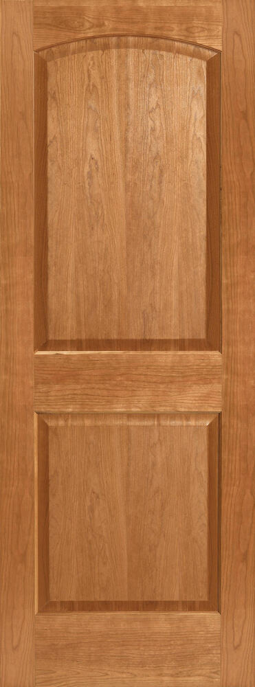 Cherry 2 panel arch top raised panels stain grade solid core interior wood doors ebay for Solid wood panel interior doors