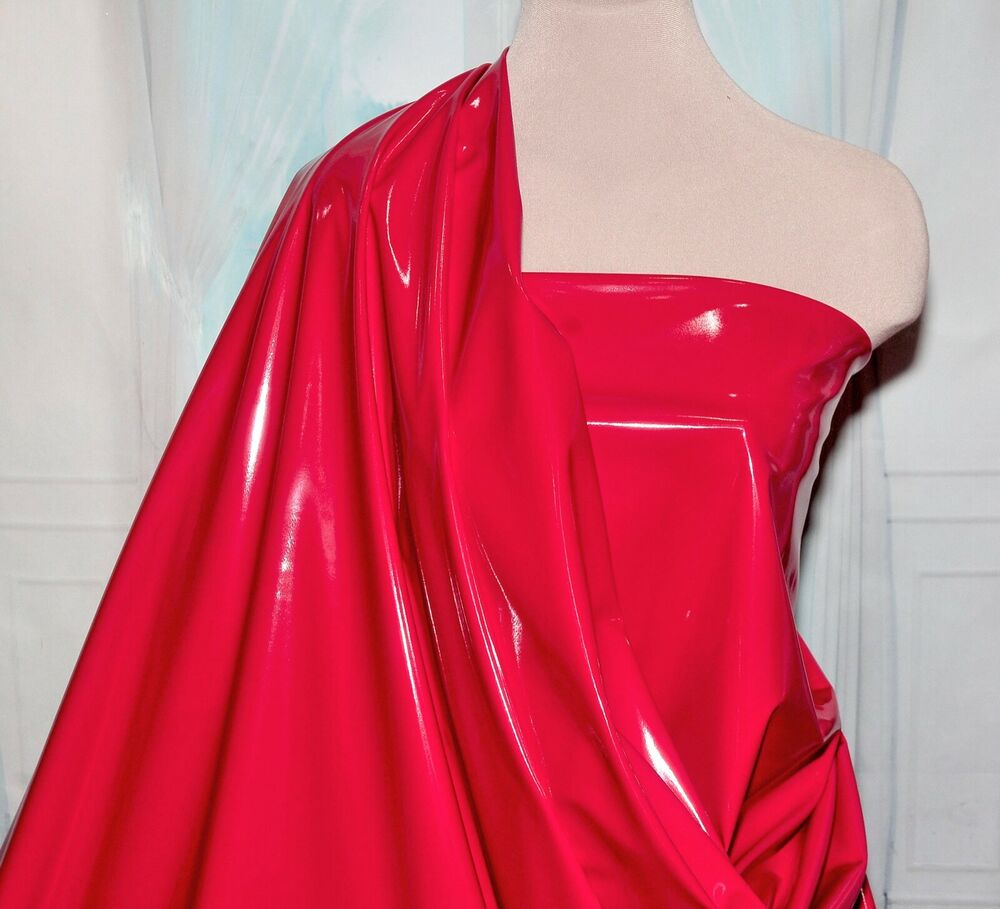 Pleather Vinyl Stretch Fabric Shiny Red By The Yard Ebay