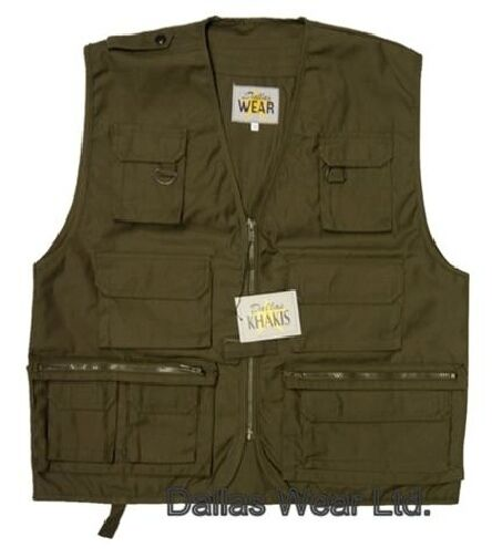 Multi pocket fishing hunting waistcoat vest olive green ebay for Green top hunting and fishing