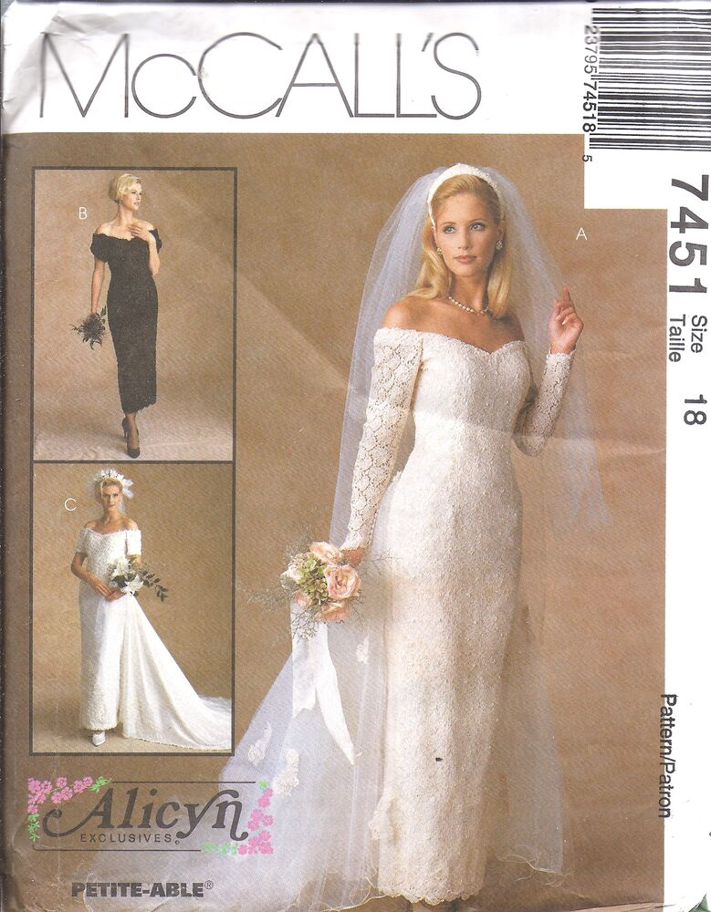 7451 UNCUT Vintage McCalls SEWING Pattern Wedding Bridal Gown ...