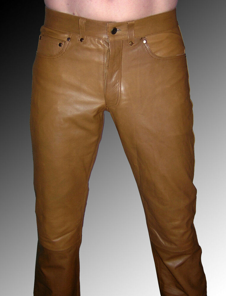 mens leather pants brown leather trousers jeans lederjeans braun pantalon cuir ebay. Black Bedroom Furniture Sets. Home Design Ideas