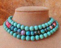 TURQUOISE NECKLACE BIG BLUE CHUNKY MULTI-STRAND JEWELRY ROBIN'S EGG TONES LARGE