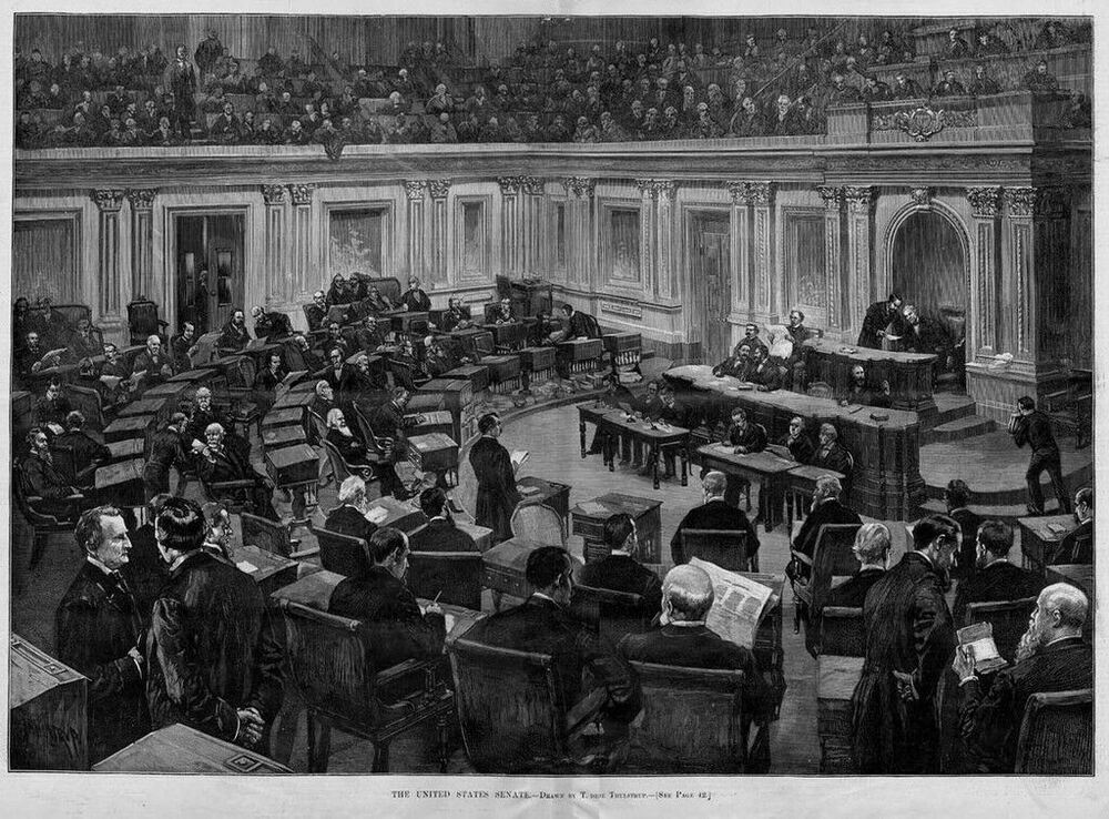United states senate chamber balcony antique engraving for Balcony history