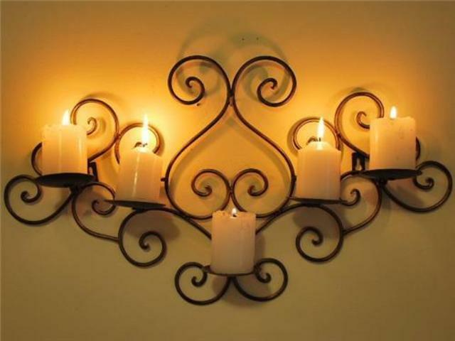 Wall Decor With Candle : Wrought iron candle sconce holder wall decor b