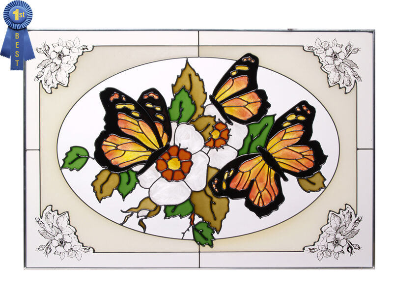 20x14 monarch butterfly flowers stained art glass for Butterfly stained glass craft