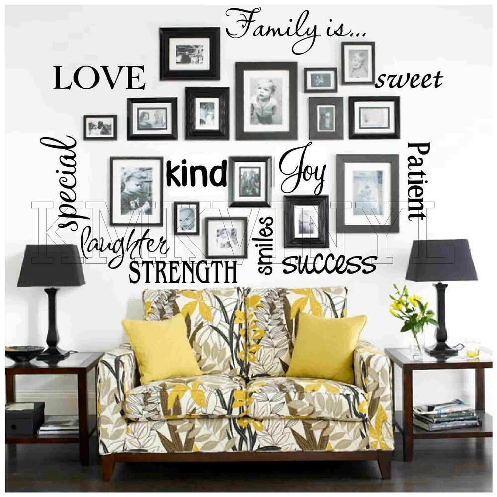Vinyl lettering family is sticky word quote wall art ebay for Decoration word