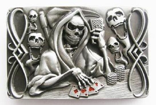 pewter belt buckle gamble grim reaper playing cards new ebay