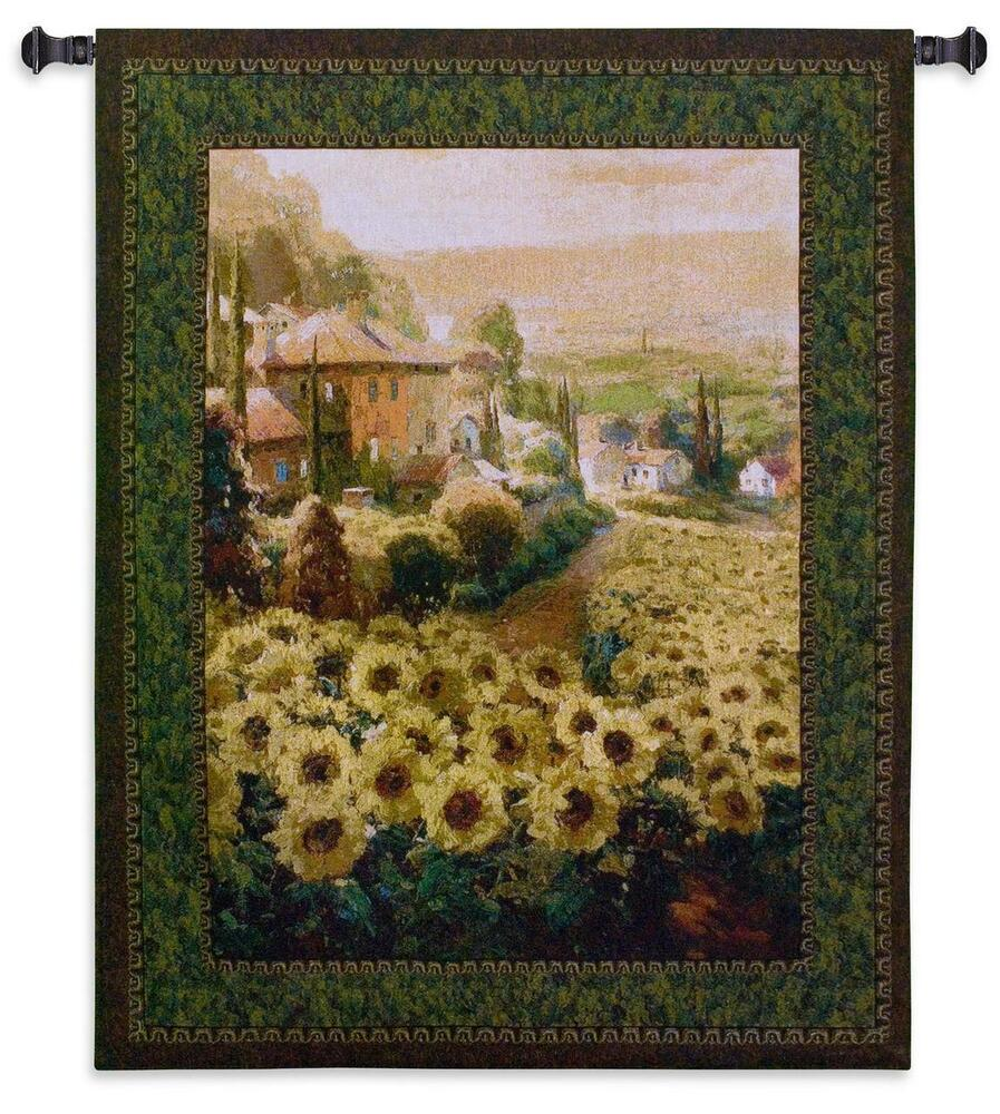 53x45 Sunflower Fields Floral Tapestry Wall Hanging Ebay