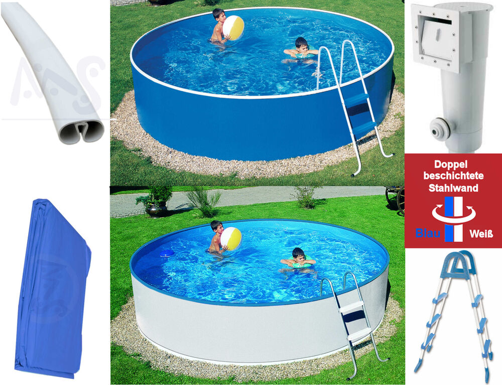 Pool stahlwandbecken rund set w 3 60 x 0 90 m filteranlage for Pool set rund