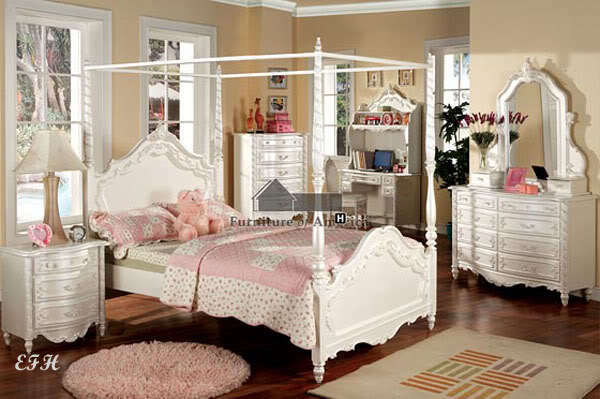 4PC VICTORIA WHITE WOOD CANOPY TWIN FULL BEDROOM SET