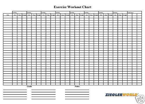 Weight lifting chart template