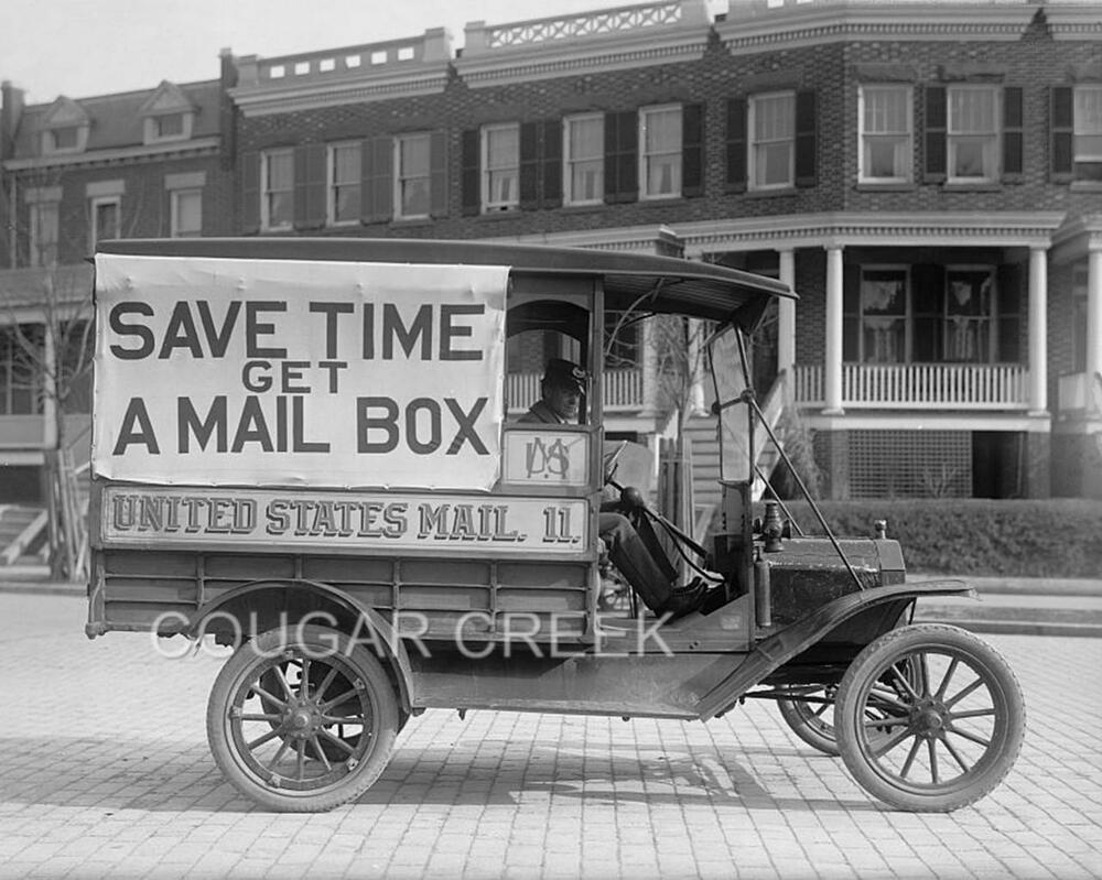 11x14 1916 US POSTAL TRUCK SAVE TIME MAILBOX USPS PHOTO