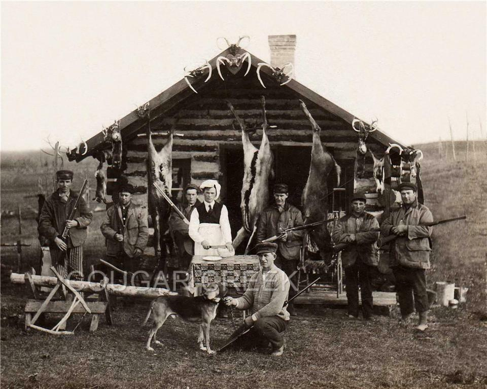7 Hunters Rifles Deer Log Cabin Cook Dog Hunting Photo Ebay