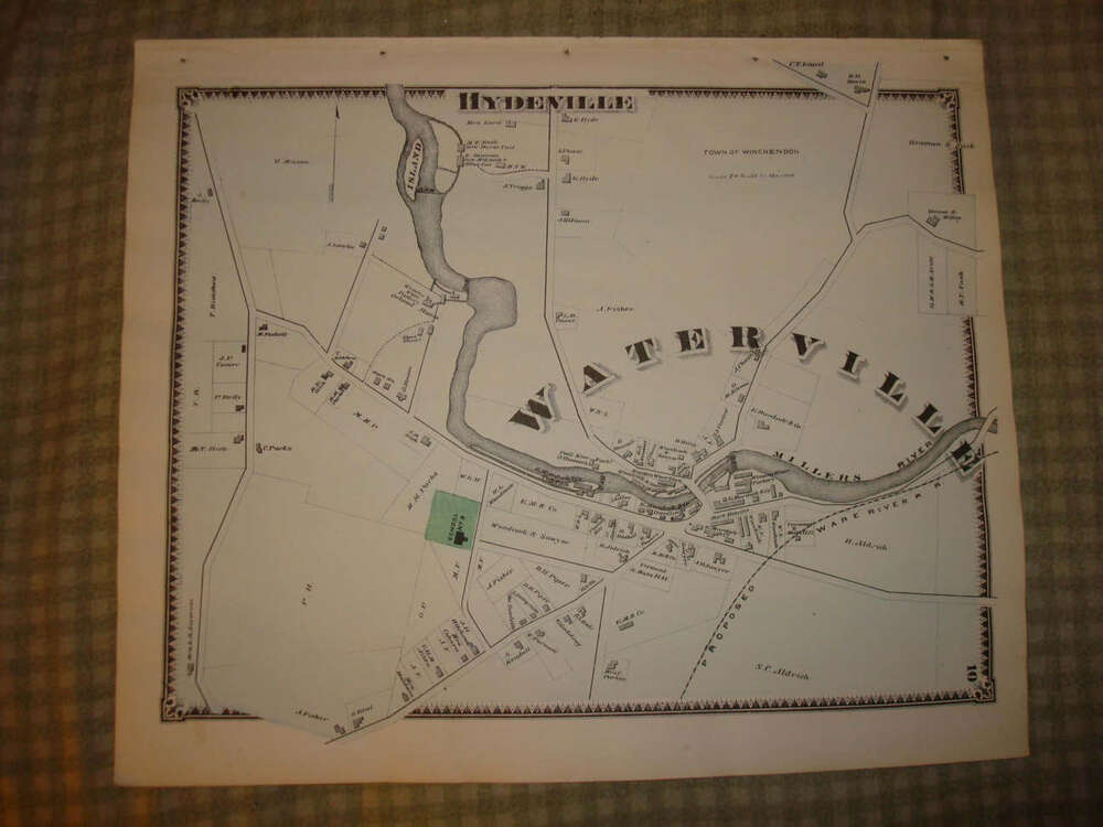 1870 winchendon waterville hydeville massachusetts map ebay. Black Bedroom Furniture Sets. Home Design Ideas