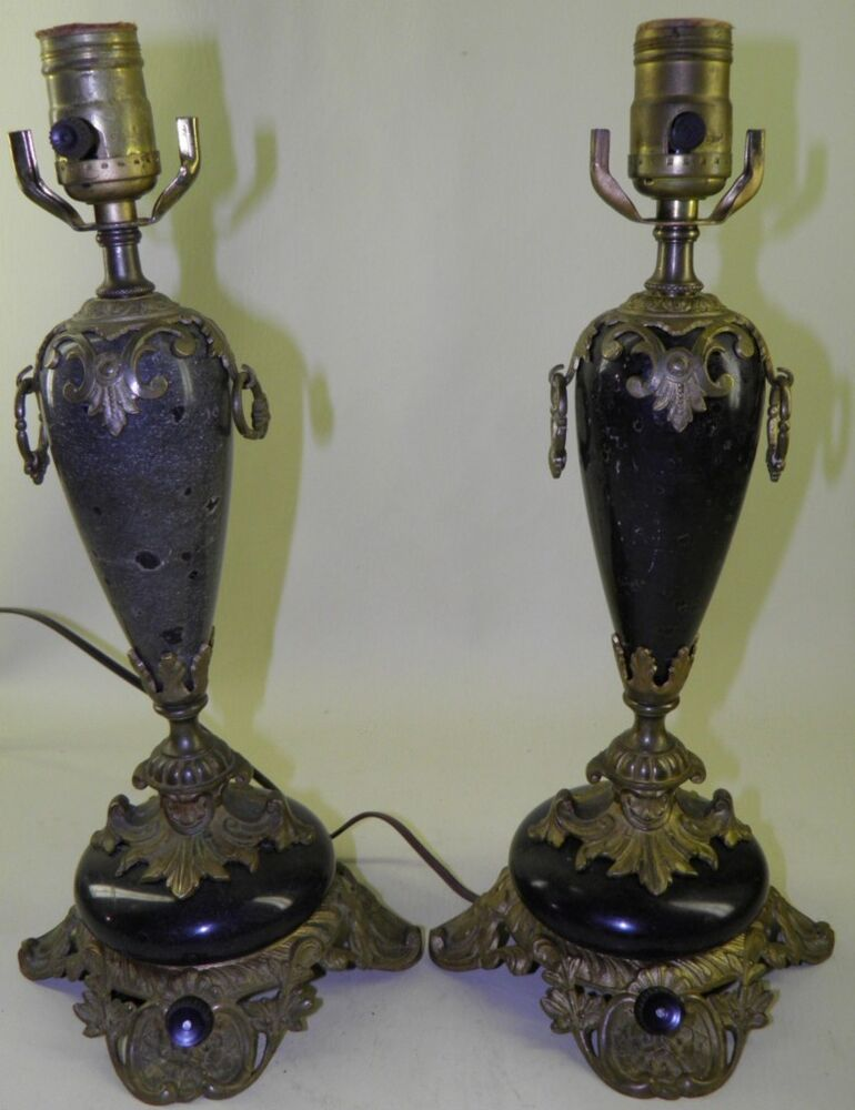 Antique Victorian Pair Ornate Bronze Marble Urn Lamps Ebay