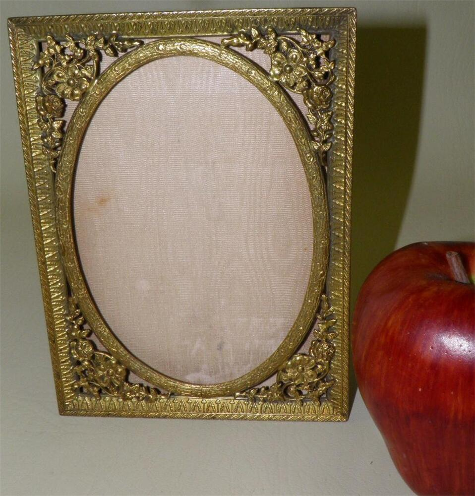 Antique Gilded Bronze Easel Back Picture Frame Singed Ebay
