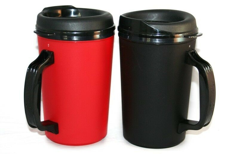 2 foam insulated 20 oz thermoserv travel mugs black red ebay. Black Bedroom Furniture Sets. Home Design Ideas
