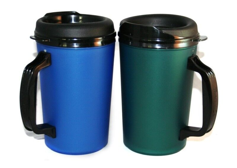 2 foam insulated 20 oz thermoserv mugs blue green ebay. Black Bedroom Furniture Sets. Home Design Ideas