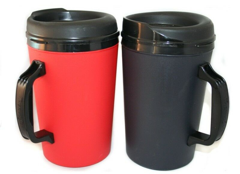 2 new foam insulated 34 oz thermoserv mugs black red ebay. Black Bedroom Furniture Sets. Home Design Ideas