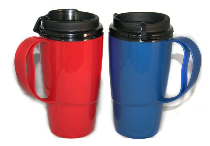 2 foam insulated 16oz thermoserv travel mugs red blue ebay. Black Bedroom Furniture Sets. Home Design Ideas