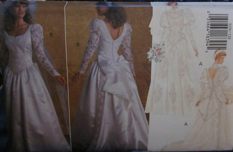 3239 vintage butterick sewing pattern elegant wedding gown for Butterick wedding dress patterns