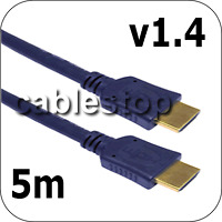 5m HDMI Lead High Speed Cable Latest v1.4 HD 24K Gold
