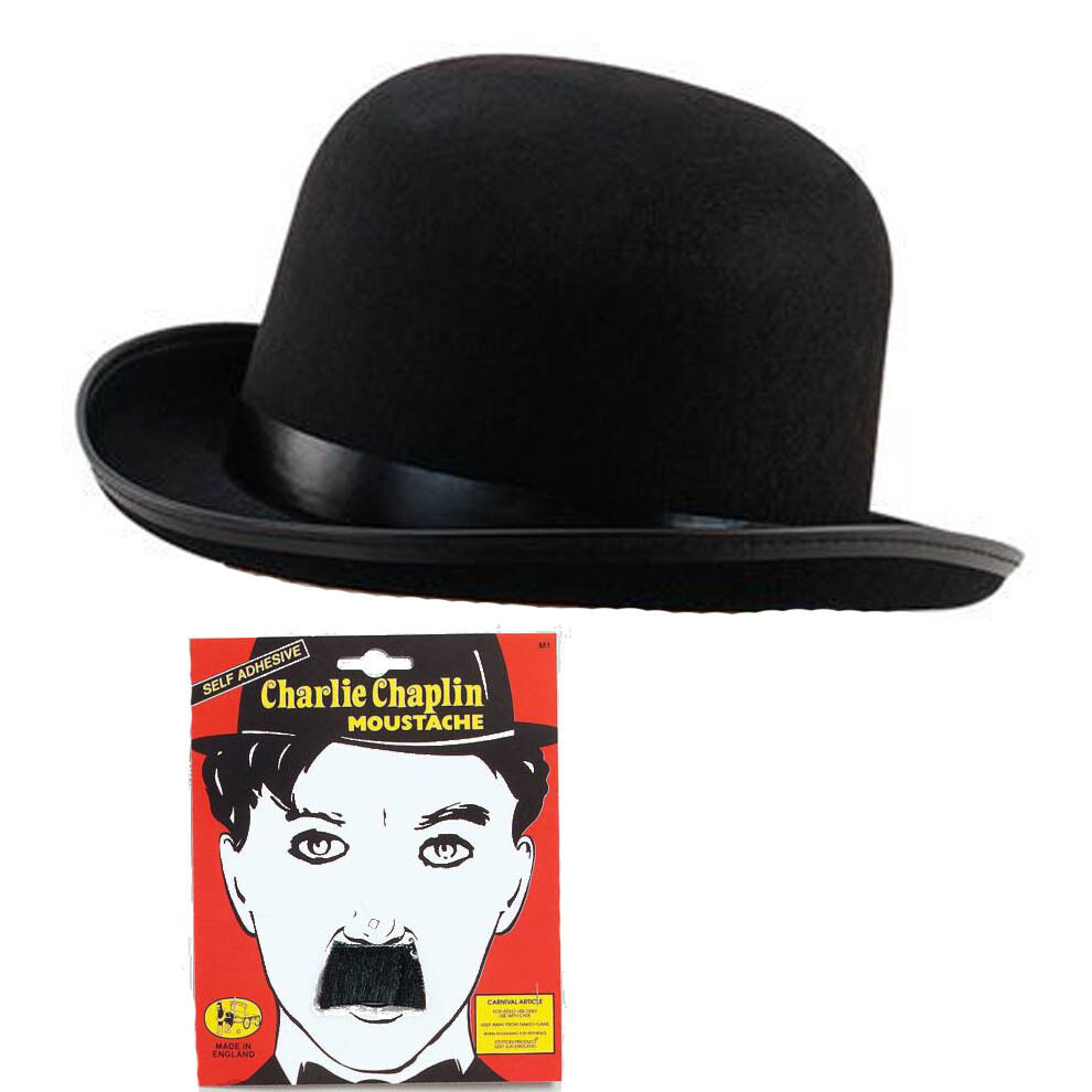 charlie chaplin black bowler hat moustach fancy dress ebay. Black Bedroom Furniture Sets. Home Design Ideas