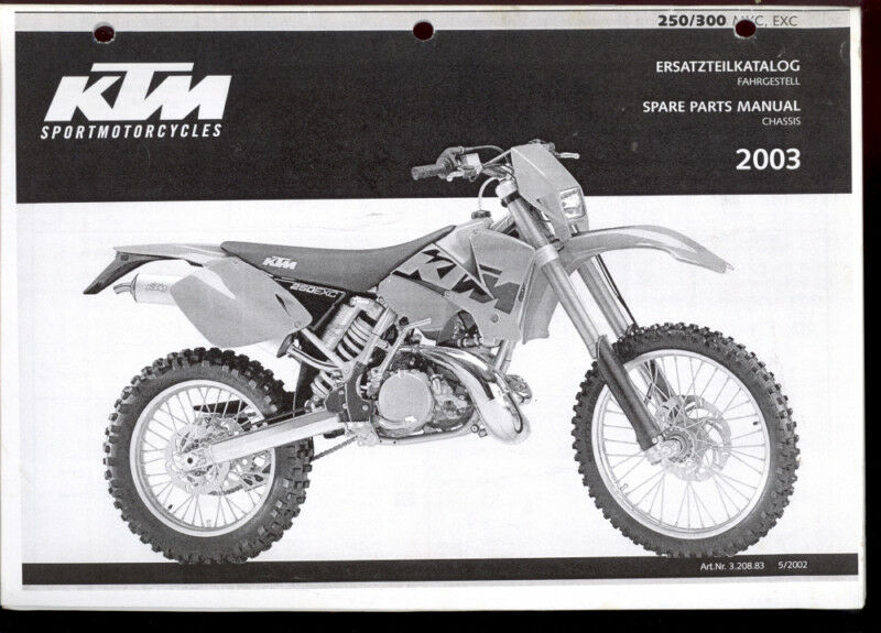 2003 Ktm 250 300 Mkc Exc Motorcycle Spare Parts Manual