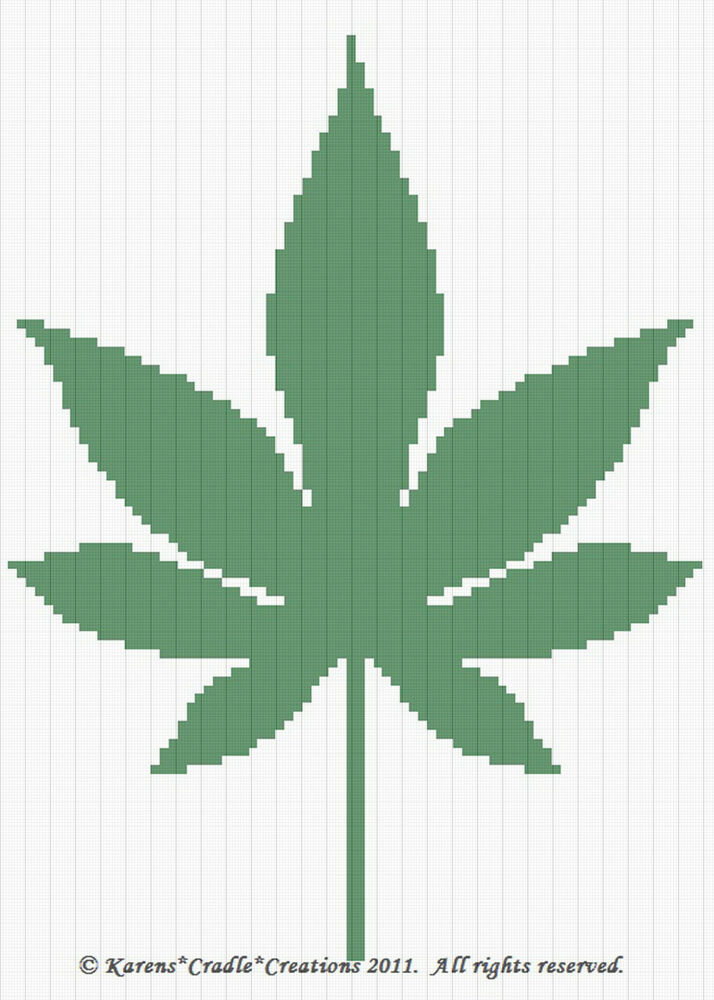 Pot Leaf Knitting Pattern : Crochet Patterns - CANNABIS LEAF Color Graph Pattern eBay
