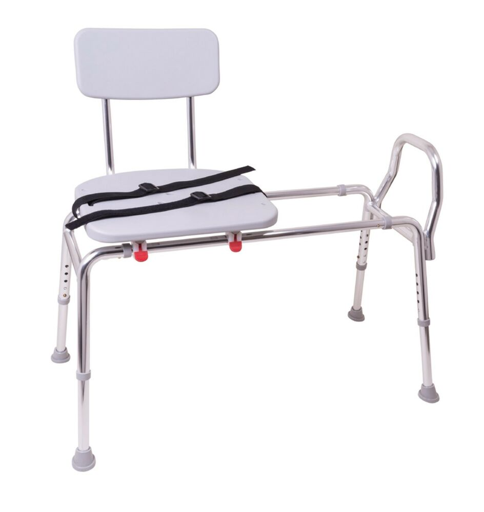 Sliding Transfer Bench Molded Seat Back Bath Stool Tub Ebay