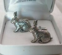 Rabbit Cufflinks in Fine English Pewter gift boxed (ab)