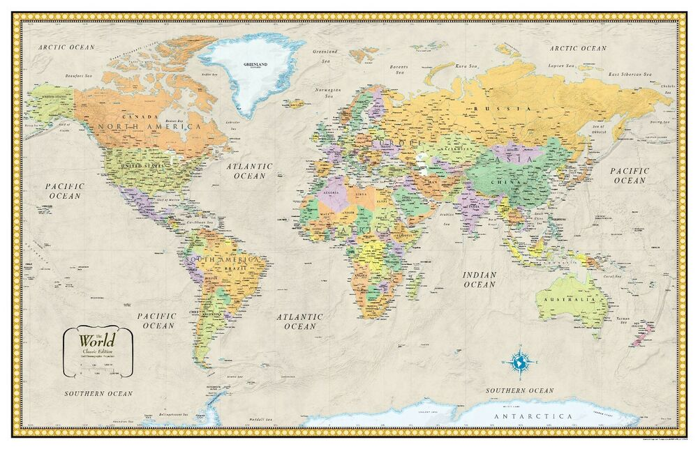 32x50 rand mcnally style classic world wall map mural poster ebay gumiabroncs Choice Image