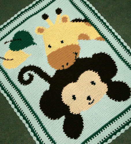 Crochet Patterns Monkey Amp Giraffe Baby Afghan Pattern Ebay