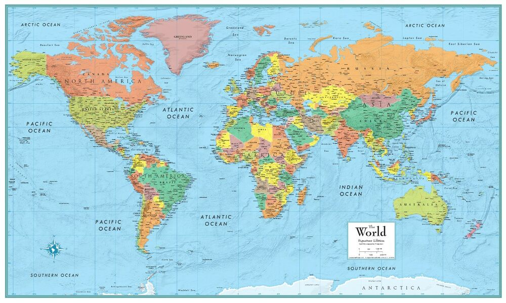 World Map Poster M Series Large Wall Map Rand McNally Style eBay