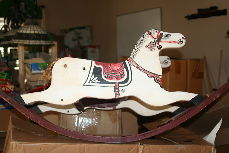 Antique Hand Painted Wooden Rocking Horse For Child Ebay