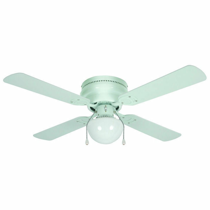 "42"" White Flush Mount Hugger Ceiling Fan"